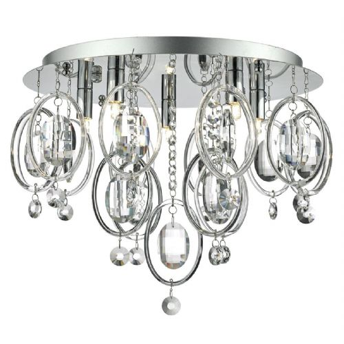 Evangeline 5 Light Flush Polished Chrome complete with Crystal Hoops